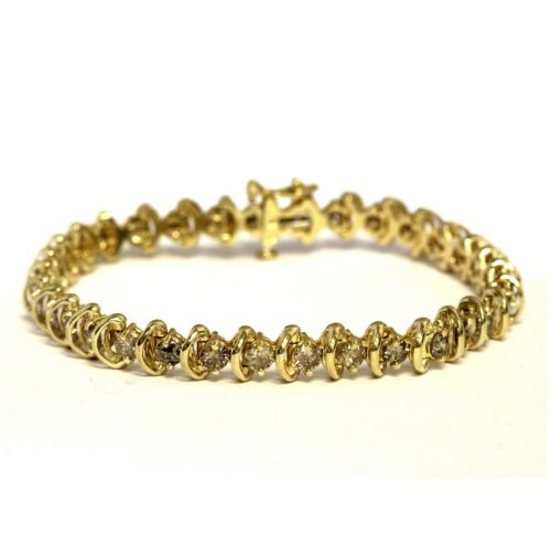 14k Yellow Gold 4.95ct Round Diamond Tennis Bracelet 17.4g Vintage Estate 7 1/4""