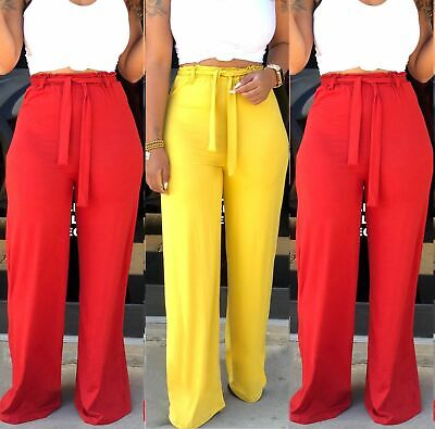 Women Loose Solid Color High Waist Wide Leg Long Pants Full Length Trousers USA - Long Length Pant