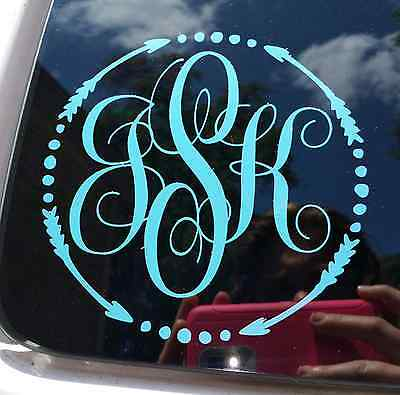 Monogram ARROW circle CHOOSE COLOR & SIZE (FREE SHIPPING) fITS yeti rtic tervis