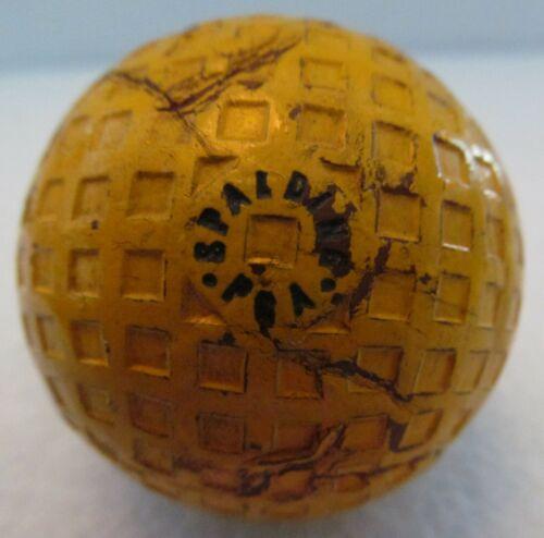 UNIQUE VINTAGE USED YELLOW SPALDING PGA SQUARE MESH BALL  CIRCA 193O