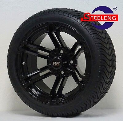 """GOLF CART 14"""" BLACK TERMINATOR WHEELS and 205/30-14 DOT LOW PROFILE TIRES (4)"""