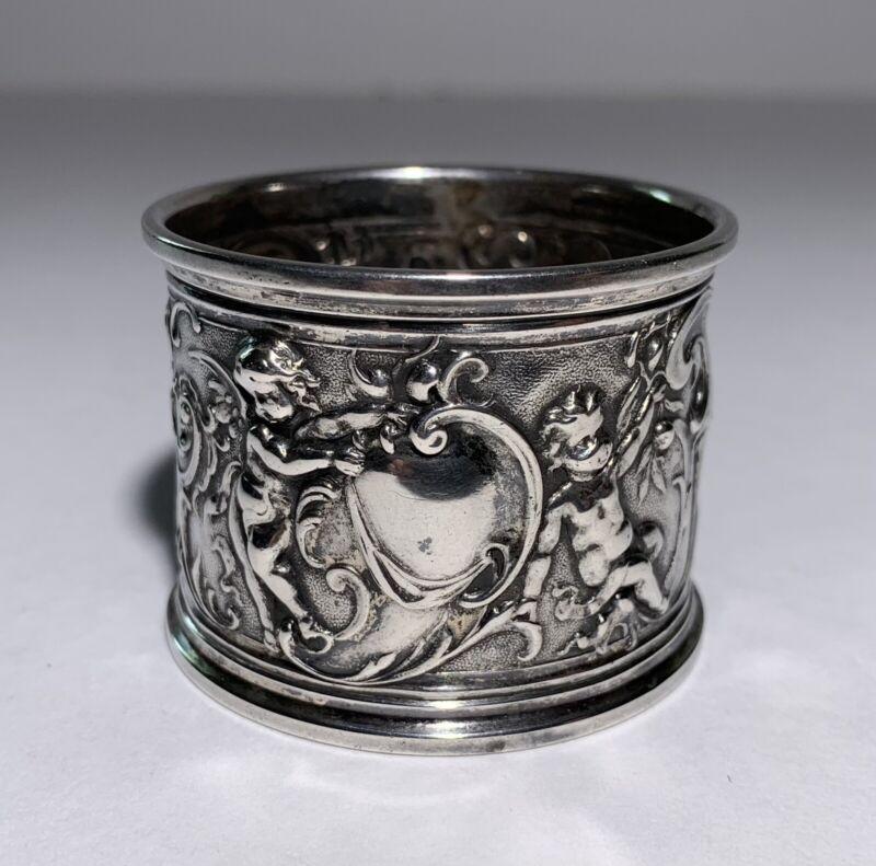 Antique PUTTI CHERUBS NAPKIN RING 800 Silver HALLMARKS