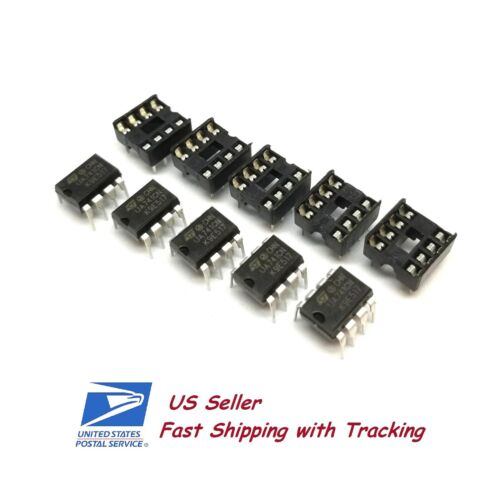 5 x UA741CN UA741 LM741 Operational Amplifier DIP-8 IC with Sockets - US Seller