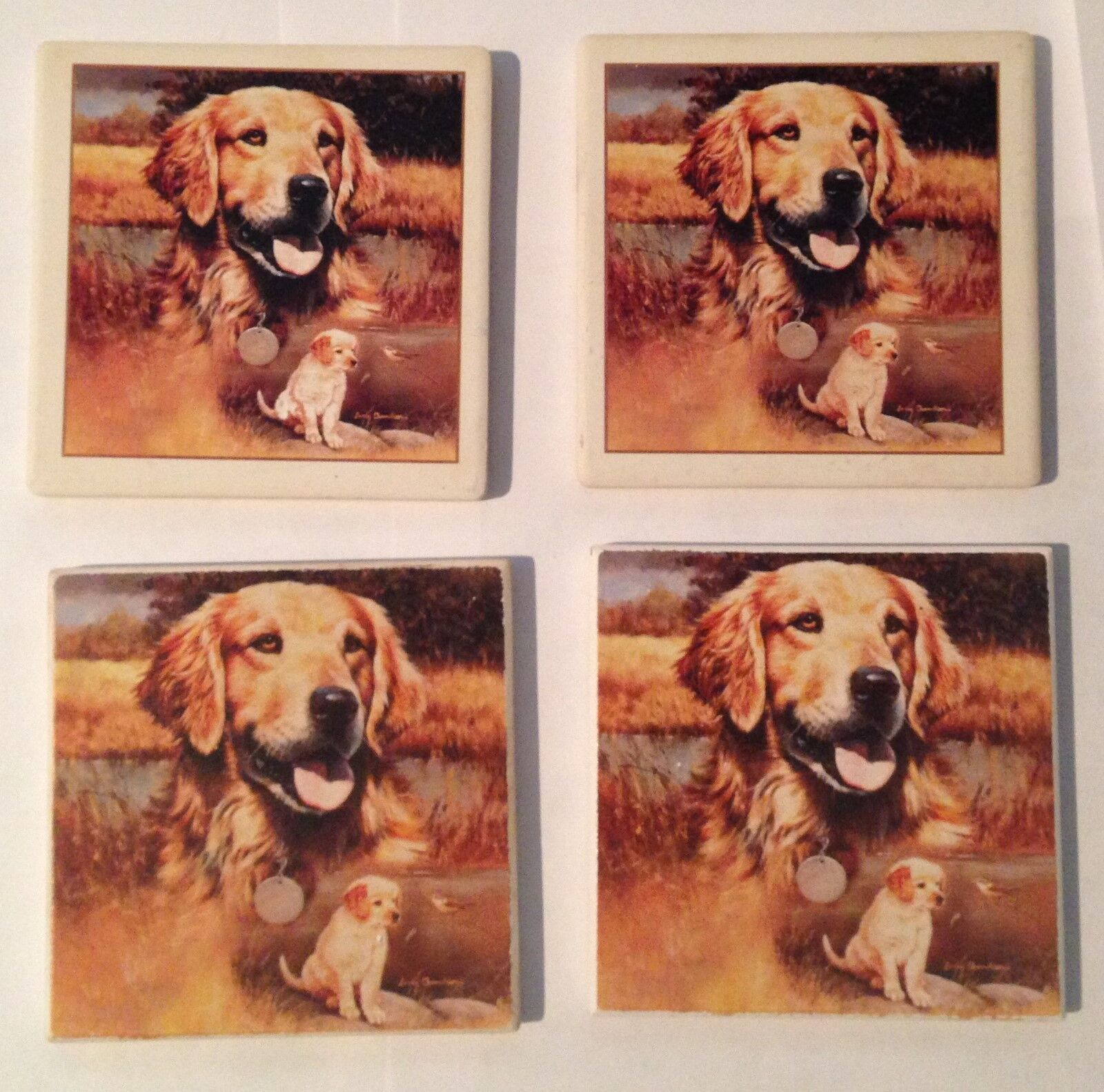 GOLDEN RETRIEVER SET OF 5 CERAMIC COASTERS WITH CORK BACK - 4 X 4 INCHES