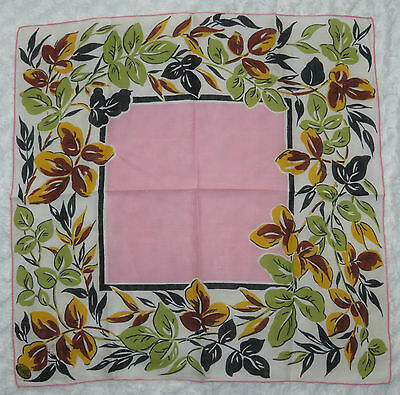 Vintage Handkerchief ~ Best Seller Irish Linen Fall Leaves w Pink Center 2 BLA
