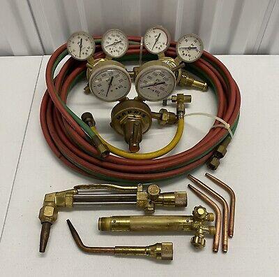 Harris Regulator Set Oxygen Acetylene Cutting Welding Setup Torch Tips More