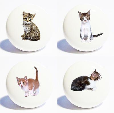 FOUR CATS KITTENS HOME DECOR CERAMIC KITCHEN  KNOBS DRAWER C