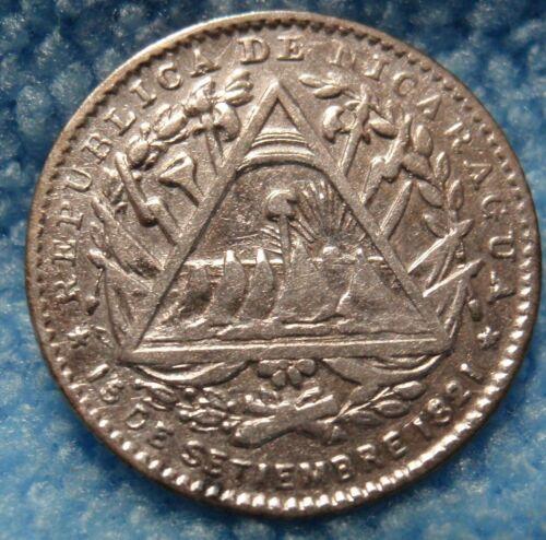1887-H XF-AU Nicaragua 5 Centavos Silver KM# 5