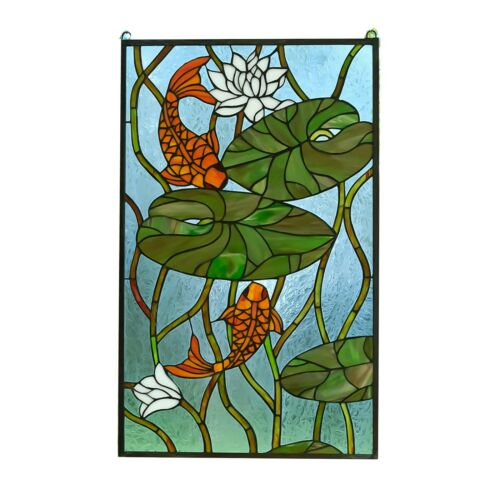 "20.5"" x 34.75"" Fish Play under Lotus Tiffany Style stained glass window panel"