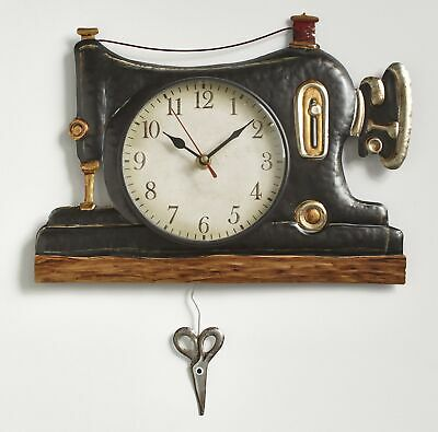Retro Sewing Machine Pendulum Wall Clock