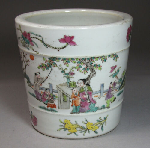 A Fine Chinese Famille Rose Enameled Brush Pot-19th C