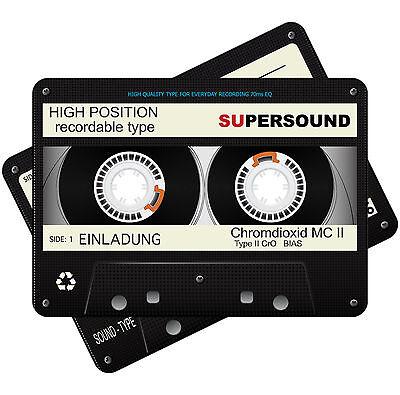 Metalliceffekt Einladungskarten zum Geburtstag als Kassette – 80er - 90er– Retro (80. Geburtstag Einladungen)