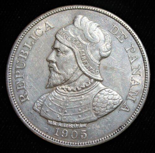 Panama: Republic 50 Centesimos 1905, AU. RARE DATE!!!
