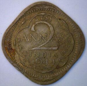 1944 British India Large 4 George VI 2 Anna Coin YG