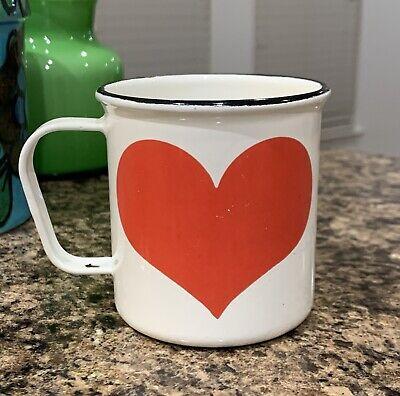 Vintage Finel Red HEART Enamel Coffee Mug Cup