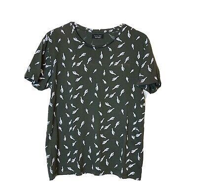 Zara Man Cactus Print Khaki Green T-shirt Size M Medium