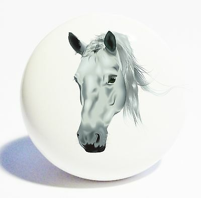 GREY HORSE HEAD HOME DECOR CERAMIC KITCHEN  KNOB DRAWER CABINET PULL