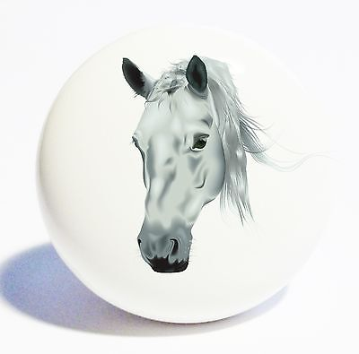 GREY HORSE HEAD HOME DECOR 1 1/2 OVER SIZED WHITE CERAMIC KNOB DRAWER CABINET