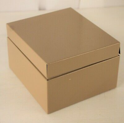 Buddy Products Beige Metal Index Card Holder File Box