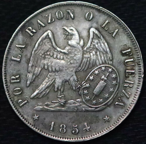 1854-So Chile Silver 1 Peso. XF-AU. - 333