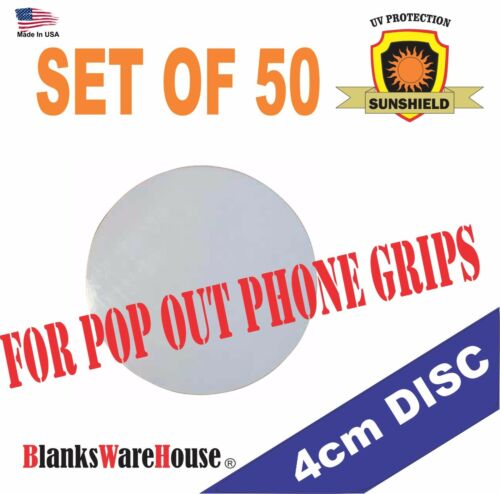 "1.57"" ( 4 cm ) Sublimation Circle Blanks  Perfect for  PHONE GRIPS - Lot of 50"