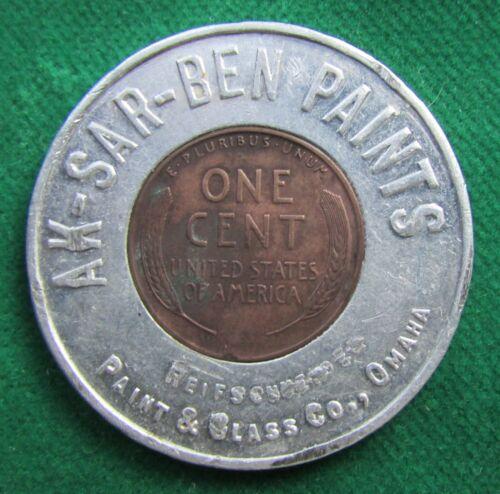 1946 Omaha NEBRASKA 1¢ penny token AK-SAR-BEN Paints advertising encased cent