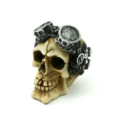 Small Steampunk Skull Figurine Wearing Goggles Gothic Halloween Statue Decor