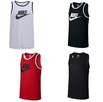 New Nike Mens Ace Logo Tank Top Tri Blend   Gym   Black  Red  White Tanktop