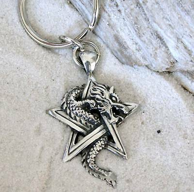 Dragon Key - DRAGON ON PENTAGRAM Pewter KEYCHAIN Key Ring