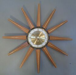 Vintage Mid Century Modern 20 Forestville Starburst Wall Clock Battery Operated