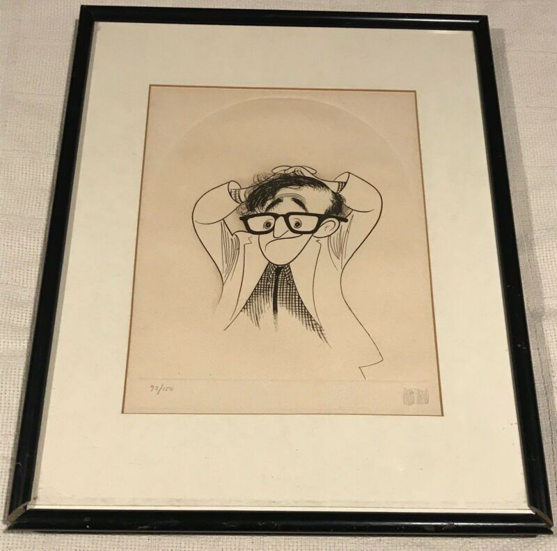 Al Hirschfeld, Hand-Signed, Limited-Edition, Framed, Woody Allen RARE ETCHING