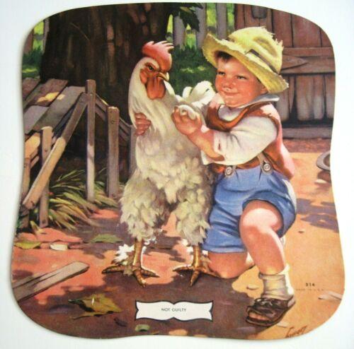 Vintage Sample Advertising Fan w/ Cute Boy Holding Chicken   *