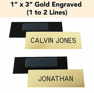 Custom Engraved Gold - 1 X 3 Name Badge Tag W Magnet - Personalized Business