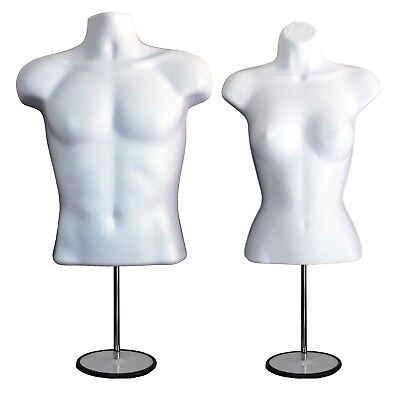 2 Mannequins 2 Stand 2 Hangers Male Female White Form Displays Shirt Dress