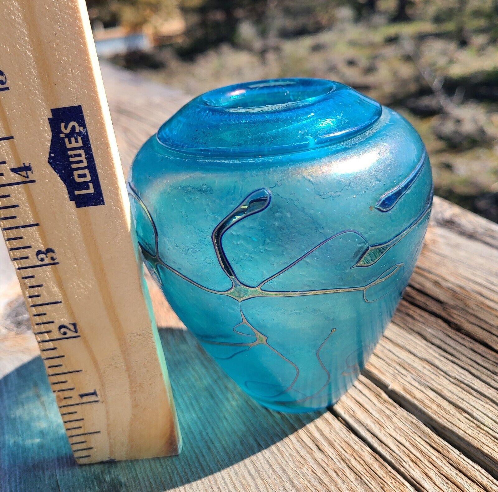 Vintage Signed ROBERT HELD Art Glass Aqua Blue Textured Vase