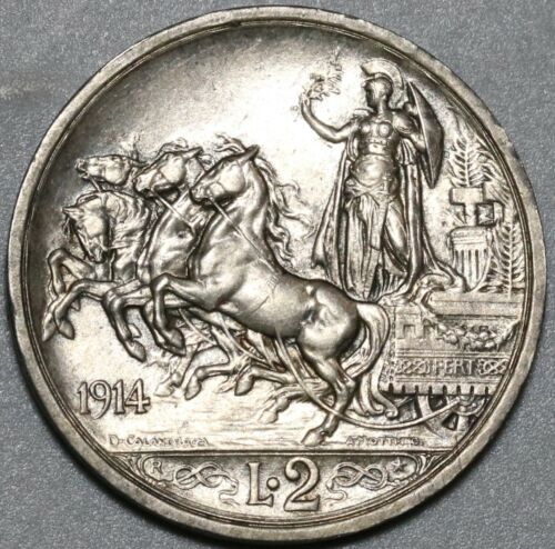 1915 Italy 2 Lire Horses & Chariot Silver UNC Coin (20071307R)
