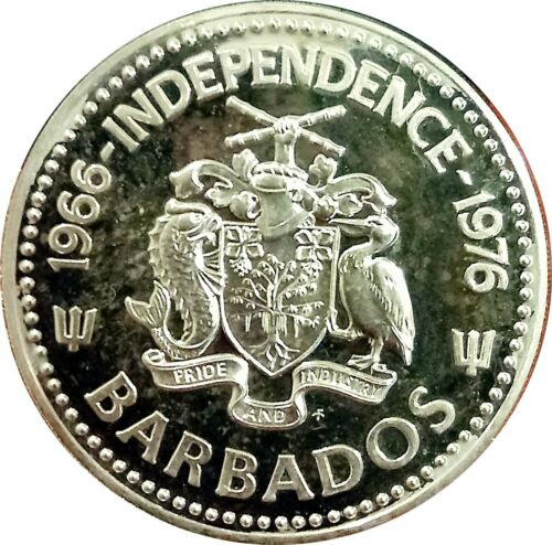 BARBADOS $10 1976 STERLING SILVER PROOF ~ 10th ANNIVERSARY OF INDEPENDENCE KM26a