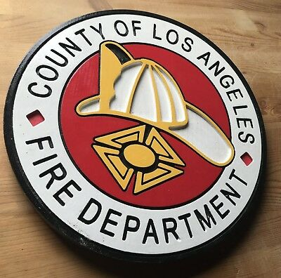 Fire Department Los Angeles County Circular 3D routed wood patch plaque sign Cus