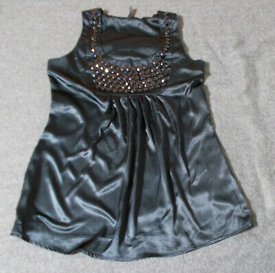 Satin Tunika Top (Satin Tunika Top mit Strass schwarzAmisu Gr.M 38 Party Fest)
