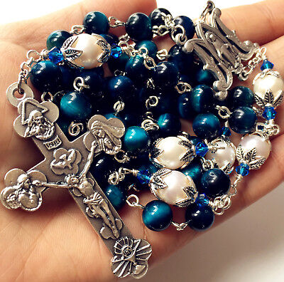 - Peacock Blue Tiger Eye Bead & 10mm Real Pear Rosary crucifix catholic necklace