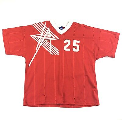 3a95d459c21 Vintage 90s Soccer Jersey Umbro Adult XL Retro Striped Made USA Red Short  Sleeve
