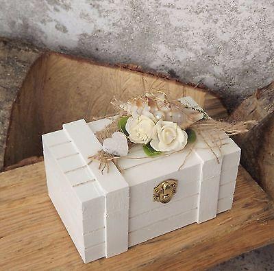 Ringkissen Ringbox Ringhalter Holz Maritim weiß natur für Eheringe Hochzeit
