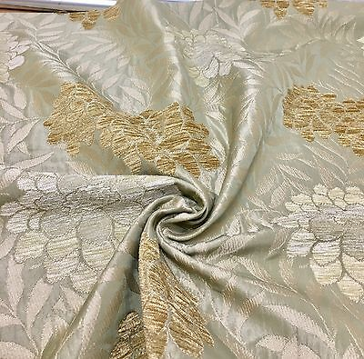 "SAMUEL SIMPSON ""MALHAM FLORAL"" LUXURIOUS PALE GREEN CHENILLE FABRIC 1.5 METRES!!"