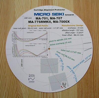 Micro Seiki MA-77SRMkII/MA-701/MA-707 & MA-7000X Tonearm Alignment Protractor gebraucht kaufen  Versand nach Germany