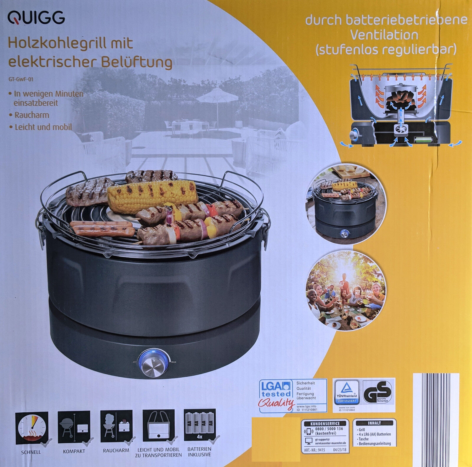Quigg Kugelgrill Fast and Easy Grill Elektrische Belüftung Anthrazit