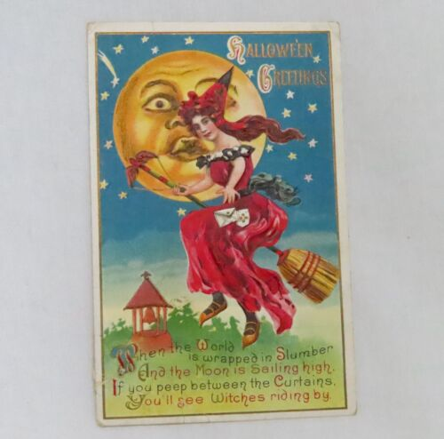 Vintage #116 Halloween Postcard Lovely Witch - 80925