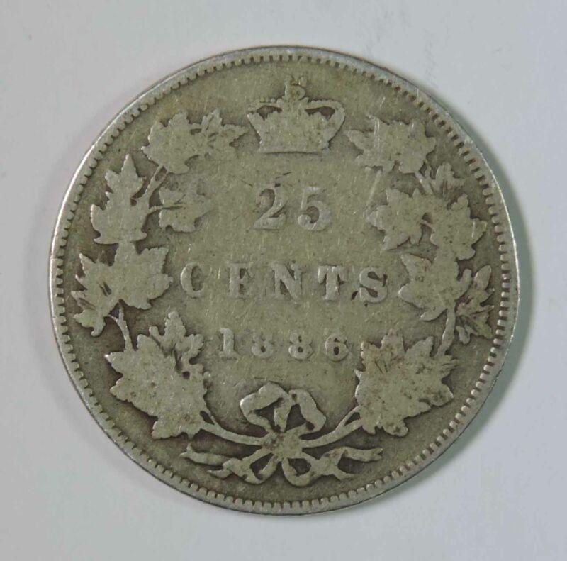 1886 Canada Canadian Victoria 25 Twenty Five Cents Silver Coin