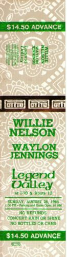 Willie Nelson & Waylon Jennings 1983 Unused Ticket