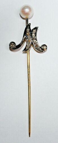 0.66ct ROSE CUT DIAMOND PEARL ANTIQUE LOOK 925 SILVER VALENTINE STICK PIN