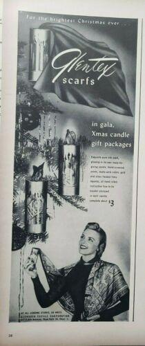 Vintage 1948 Glentex Scarfs Print Ads Ephemera Art Decor